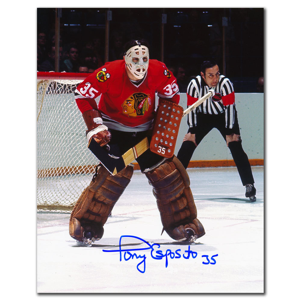 Tony Esposito Chicago Blackhawks Faceoff Autographed 8x10
