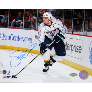 Shea Weber Signed Skating With Puck White Jersey Horizontal 8x10 Photo