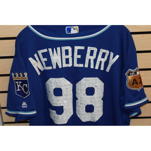 Photo of Game-Used Jake Newberry Spring Training Jersey (Size 48) (4/14/17 LAA @ KC)
