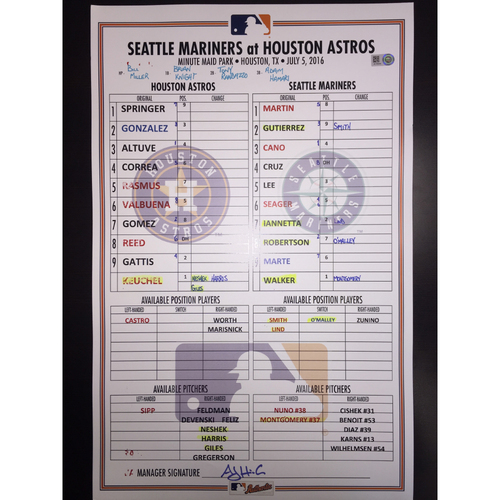 Photo of Astros vs Mariners, July 5, 2016, Game-Used Lineup Card