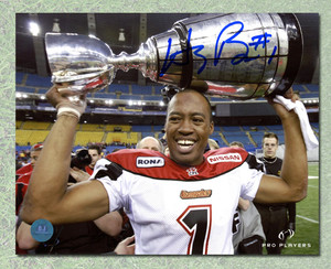 Henri Burris Calgary Stampeders Autographed CFL Grey Cup 8x10 Photo