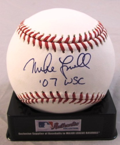 "Photo of Mike Lowell Autographed ""07 WS Champs"" Baseball"
