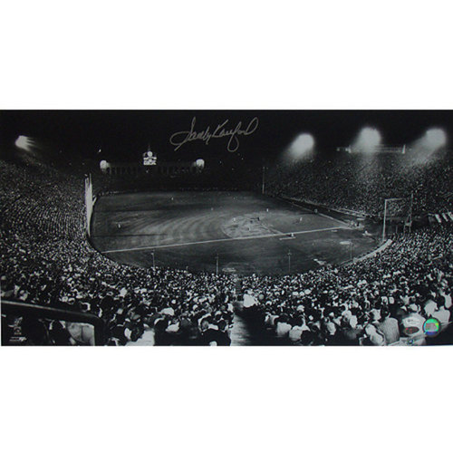 Photo of Sandy Koufax Dodgers Night Game at Los Angeles Coliseum 12x23 Photo