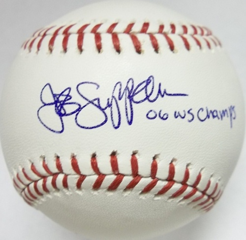 "Photo of Jeff Suppan ""06 WS Champs"" Autographed Baseball"