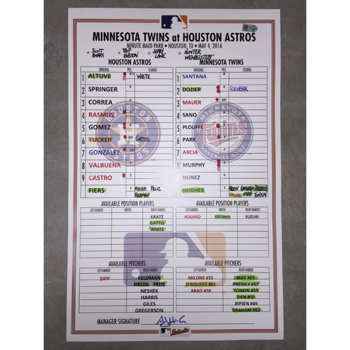 Photo of Astros vs Twins, May 4, 2016, Game-Used Lineup Card