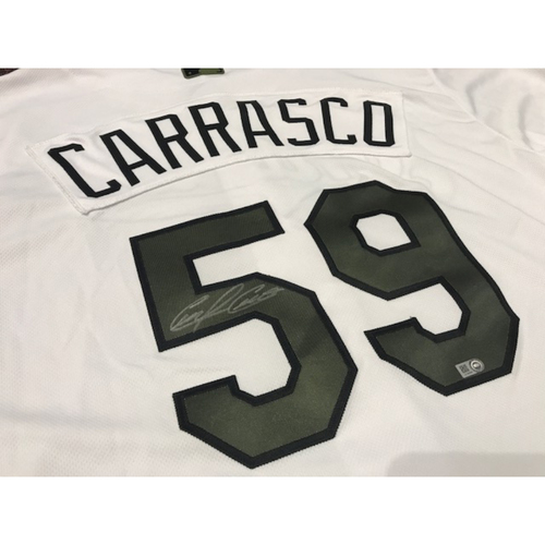Photo of Carlos Carrasco Autographed Memorial Day Jersey