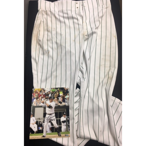 Photo of Paul Konerko Team-Issued 2012 Green Pinstriped Pants and Autographed Photo
