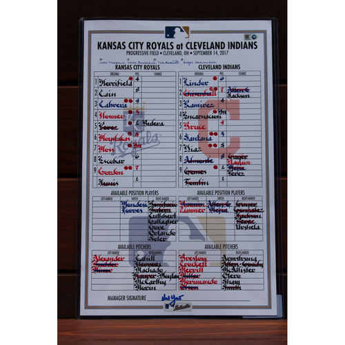 Photo of Game-Used Line-Up Card: Kansas City Royals at Cleveland Indians (9/14/17)