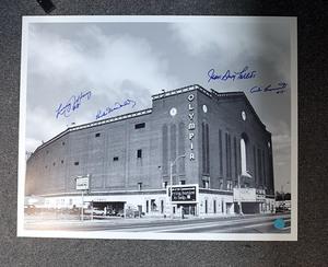 Olympia Stadium 16x20 Photo - Autographed by 4 Detroit Legends *Jeffrey, Macdonald, Talbot, Pronovost*