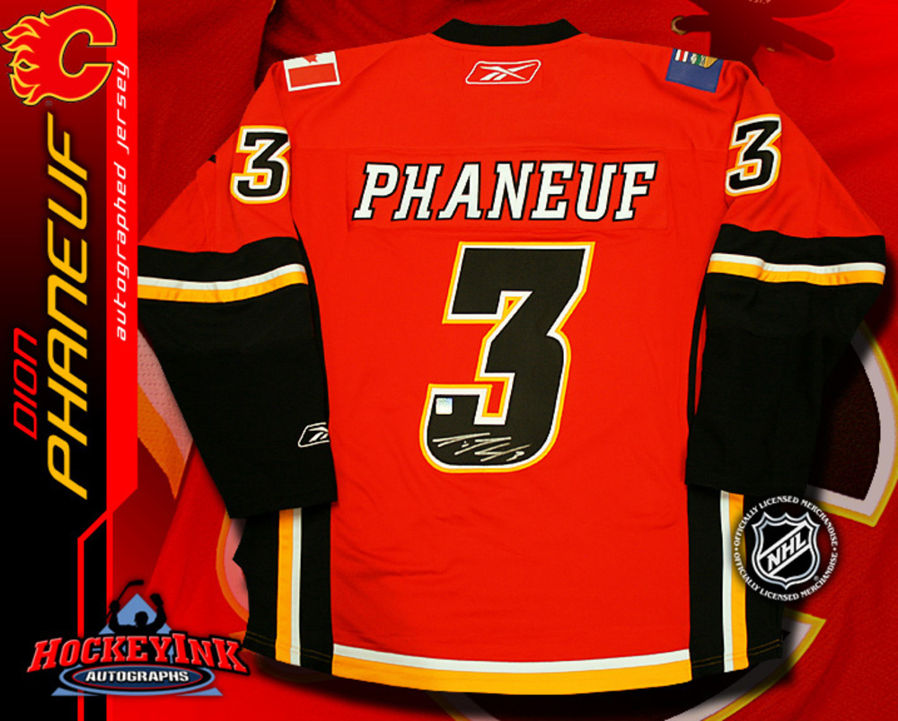 DION PHANEUF Signed Calgary Flames RBK Premier Red Jersey