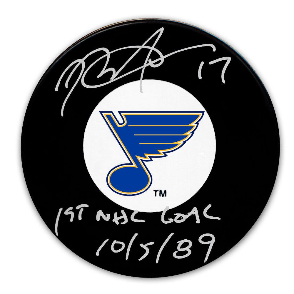 Rod Brind'Amour St. Louis Blues 1st Goal 10/5/89 Autographed Puck