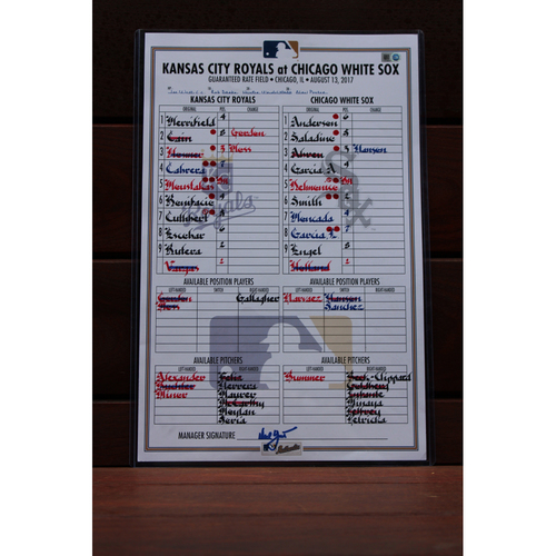 Photo of Game-Used Line-Up Card: Kansas City Royals at Chicago White Sox (8/13/17)
