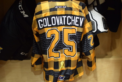 #25 Dennis Golovatchev Kingston Frontenacs Game Issued Hockey Fights Cancer Plaid Jersey
