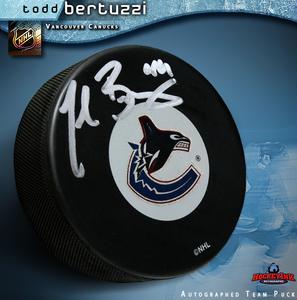 TODD BERTUZZI Signed Vancouver Canucks Puck