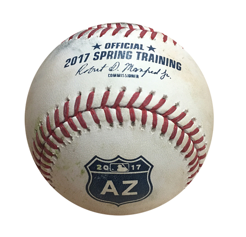 Photo of Spring Training Game-Used Baseball -- Zach Davies to Addison Russell, Pitch in the Dirt, Bot 3 -- Brewers vs Cubs - 3/14/17