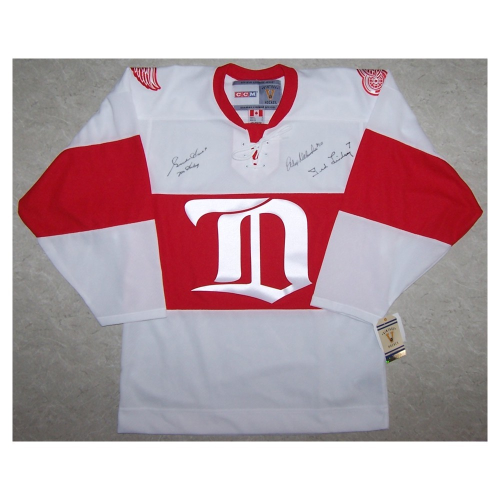 Howe, Delvecchio, Lindsay Autographed Detroit Red Wings Vintage CCM Replica Jersey