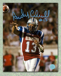 Anthony Calvillo Montreal Alouettes Autographed Close-Up Passing 8x10 Photo