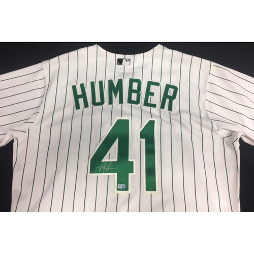 Photo of Phil Humber Game-Used Autographed Green Pinstriped Jersey
