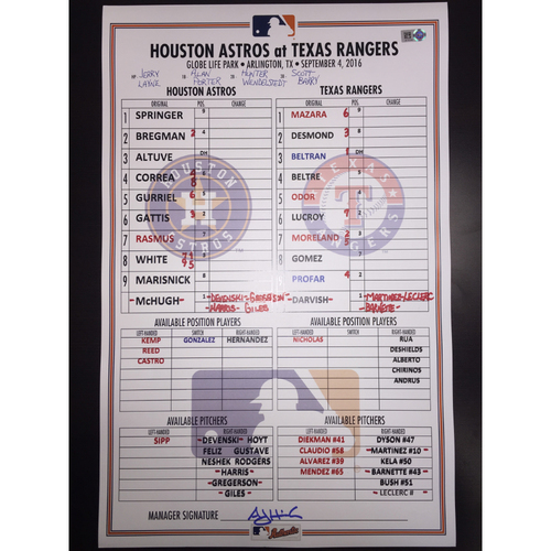 Photo of Astros at Rangers, September 4, 2016, Game-Used Lineup Card