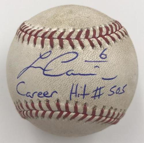 "Photo of Lorenzo Cain ""Career Hit 505"" Autographed Game Used Baseball"
