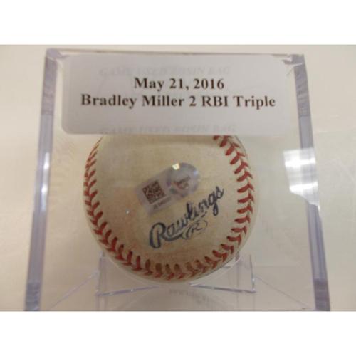 Photo of Game-Used Baseball: Bradley Miller 2 RBI Triple