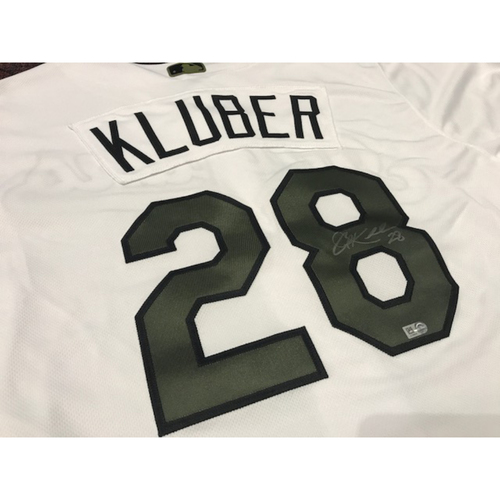 Photo of Corey Kluber Autographed Memorial Day Jersey