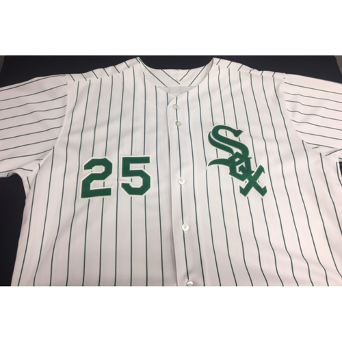 Photo of Jim Thome Green Pinstriped Jersey - Size 52