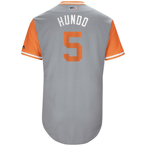 "Photo of Nicky ""Hundo"" Hundley San Francisco Giants Game-Used Players Weekend Jersey"