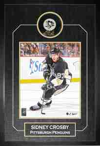 Sidney Crosby - Signed & Framed Puck - Pittsburgh Penguins Featuring 8x10 Action Shot