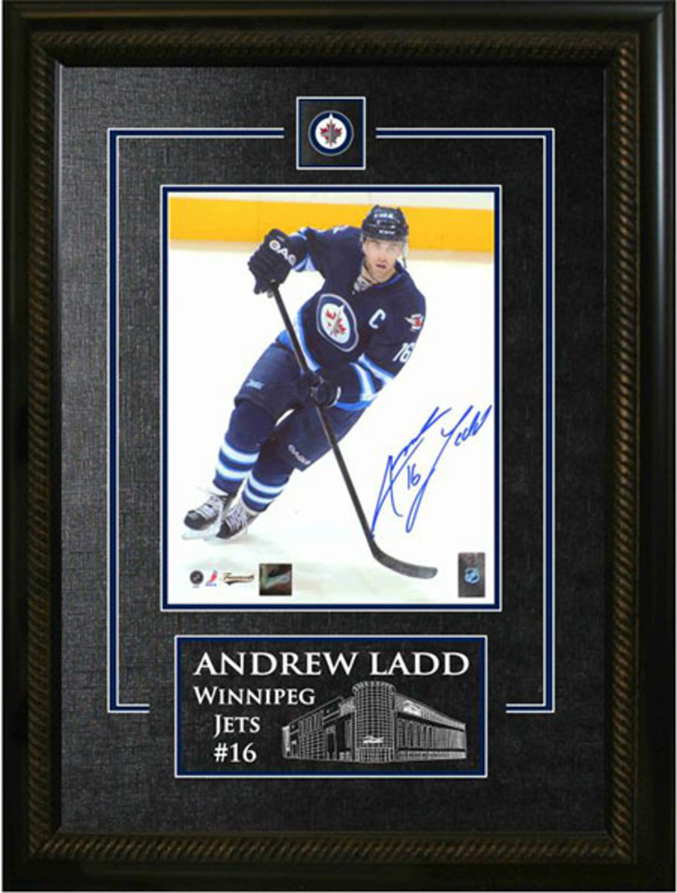 Andrew Ladd - Signed & Framed 8x10 Etched Mat - Winnipeg Jets Dark Action