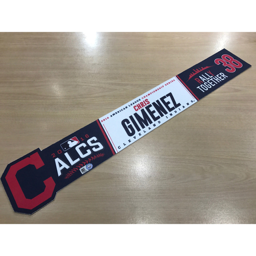 Photo of Chris Gimenez 2016 ALCS Locker Name Plate from the Home Clubhouse at Progressive Field