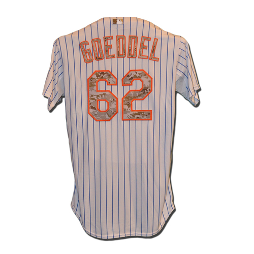 Photo of Erik Goeddel #62 - Game Used Memorial Day Jersey - Mets vs. Phillies - 5/25/15
