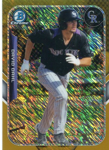 Photo of 2015 Bowman Chrome Farm's Finest Minis Gold Refractors David Dahl 24/50