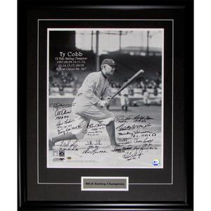 MLB Batting Champions Multi-Signed 16X20 Framed Photo - Kirby Puckett, Mickey Vernon, Frank Robinson, Tommy Davis, Tim Raines & More