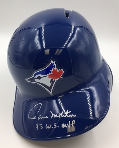 "Photo of Paul Molitor ""93 WS MVP"" Autographed Blue Jays Batting Helmet"