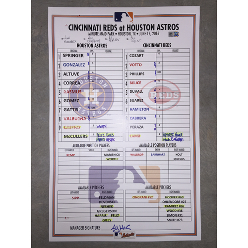 Photo of Astros vs Reds, June 17, 2016, Game-Used Lineup Card