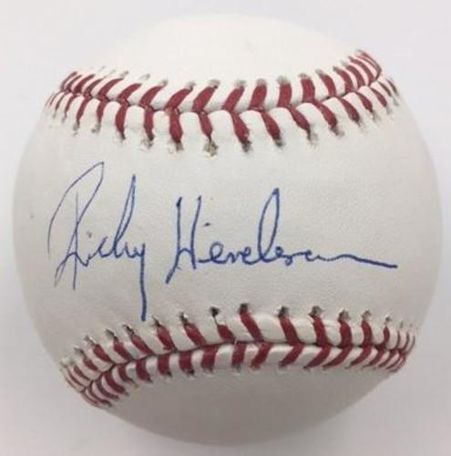 Photo of Rickey Henderson Autographed Baseball