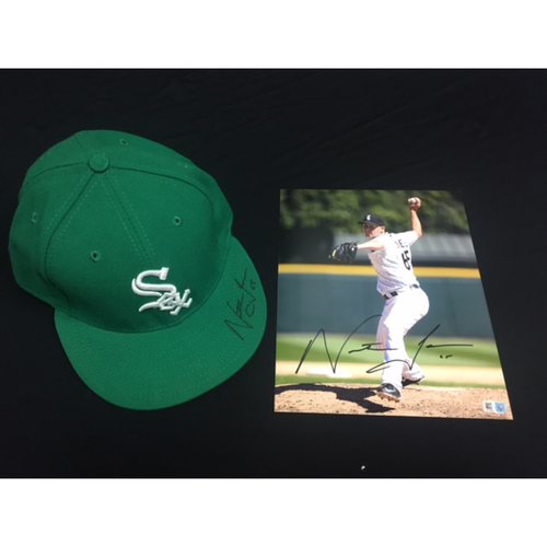 Photo of Nate Jones Autographed Green Cap and Photo