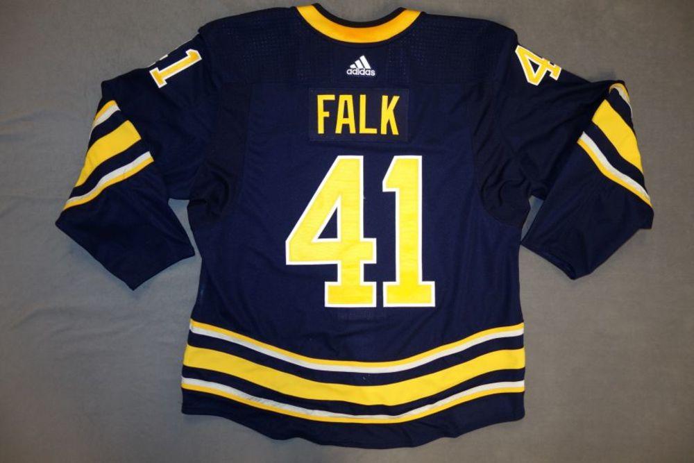 Justin Falk 2017-18 Buffalo Sabres Game Worn Set 2 Home Jersey