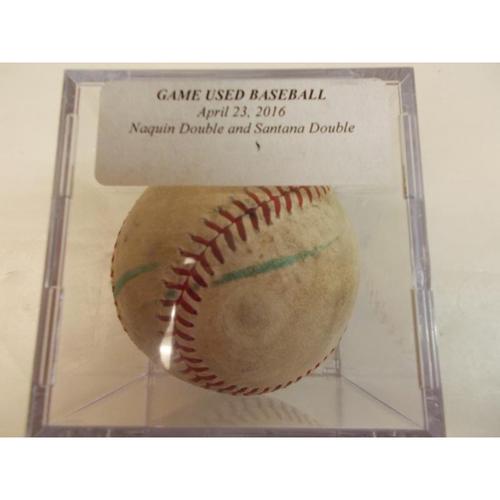 Photo of Game-Used Baseball: Tyler Naquin Double and Carlos Santana RBI Single