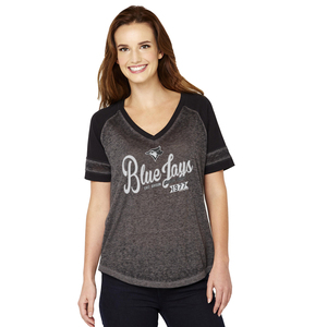 Toronto Blue Jays Women's Vintage Raglan Grey/Black by Soft As A Grape