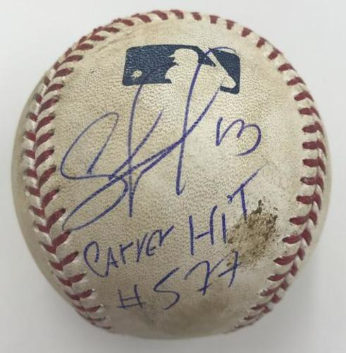 "Photo of Salvador Perez ""Career Hit 577"" Autographed Game Used Baseball"