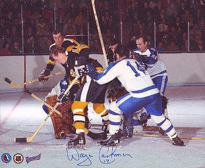 WAYNE CASHMAN Boston Bruins SIGNED 8x10 Photo Espo Line Action Photo