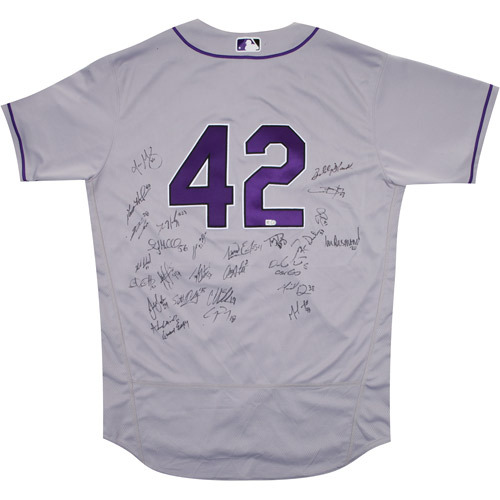 Photo of 2017 Jackie Robinson Day Jersey - Colorado Rockies Team Autographed Jersey