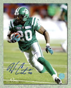 Wes Cates Saskatchewan Roughriders Autographed CFL Action 8x10 Photo