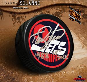 TEEMU SELANNE Signed Winnipeg Jets Retro Logo Puck with
