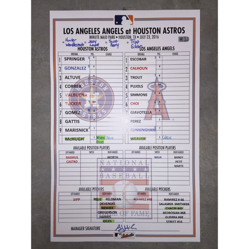 Photo of Astros vs Angels, July 23, 2016, Game-Used Baseball Hall of Fame Induction Weekend Lineup Card