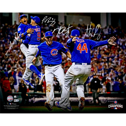 """Photo of Kris Bryant, Anthony Rizzo, Javier Baez and Addison Russell Chicago Cubs 2016 World Series Champions Autographed 16"""" x 20"""" Celebration Photograph - Limited Edition 500 of 500"""