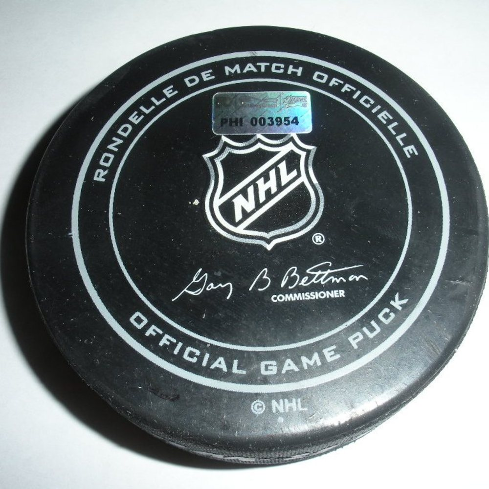 Travis Zajac - New Jersey Devils - Goal Puck - March 11, 2014 (Flyers Logo)