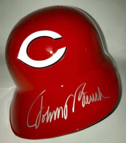 Photo of Johnny Bench Autographed Reds Helmet